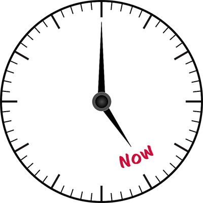 "Image of a round clock face with no numbers, The hour hand is pointing to the word ""Now"" and the minute hand is pointing straight up, indicating ""the time is now."""